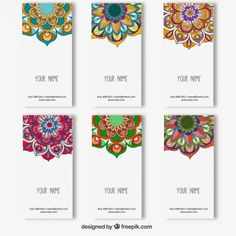 Collection colorful mandala banners free vector