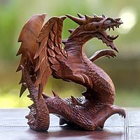 Wood statuette, 'Winged Dragon'