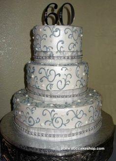 Wedding Cakes, Cupcakes, Cookies, Cakes - ABC Cake Shop & Bakery, Albuquerque New Mexico Anniversary Cake Designs, 60th Anniversary Parties, Wedding Anniversary Cakes, Anniversary Ideas, Silver Anniversary, Diamond Anniversary, Anniversary Decorations, Sparkly Wedding Cakes, Diamond Wedding Cakes