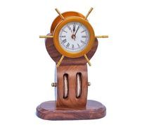 Solid Brass Ship Wheel Clock on Wooden Pulley 12""