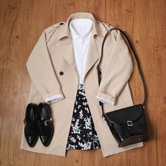 Korean fashion - white blouse, black floral skirt, beige trench coat, black shoes and black bag