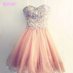 Champagne Short Homecoming Party Dresses Sweetheart Crystals Tulle Lace-up 8th Grade Prom Dress