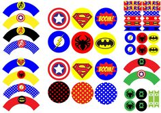 Birthday Party of Superheroes: Free Printable Wrappers and Toppers for Cupcakes.