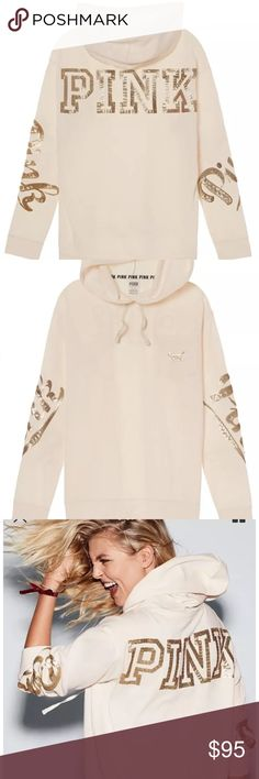 VS Pink Bling Campus Pullover White Medium Nwt Victoria's Secret pink bling Campus Pullover  White in color Sizes medium  Brand new in package PINK Victoria's Secret Tops Sweatshirts & Hoodies