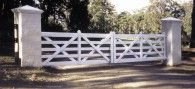 Double Estate Gate - (after painting) Timber Gates, Garden Bridge, Entrance, Outdoor Structures, Painting, Wood Gates, Entryway, Wooden Gates, Door Entry