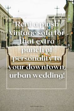 Urban + vintage don't always go hand in hand, but here is a great way to add that cool vintage piece to your urban style wedding, without turning into a theme! Read the blog for more. Wedding Themes, Wedding Vendors, Wedding Designs, Wedding Events, Weddings, Vintage Sofa, Vintage Theme, Urban Style, Vintage Vibes