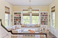 Good use of a large landing for reading/homeschool area | House of Turquoise: Honey Collins