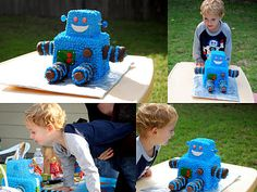 My sister's amazing robot cake she made her little boy!