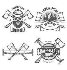 Set of vintage lumberjack design elements vector - by ivanbaranov on VectorStock®