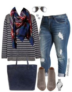 Plus Size Stripes & Plaid Outfit A cute fall outfit with a blanket scarf. I love to mix stripes and plaid! Go here for another blanket scarf outfit. Shop the Look Blanket… Xl Mode, Mode Plus, Mode Shop, Plaid Outfits, Cute Fall Outfits, Casual Outfits, Casual Clothes, Winter Outfits, Curvy Fashion