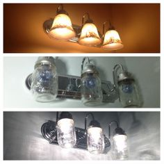 DIY:: Lighting updated by replacing globes with mason jars !  Great idea for the bathroom - I wonder how the blue jars would look