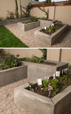 Gardening Vegetable 10 Excellent Examples Of Built-In Concrete Planters // Custom smooth concrete vegetable boxes have been designed at varying heights to add interest to this garden. Landscaping Blocks, Backyard Landscaping, Landscaping Ideas, Garden Boxes, Garden Planters, Modern Planters, Garden Fences, Garden Paths, Concrete Planter Boxes