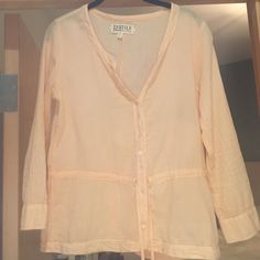 Light Orange Beach Shirt Perfect to wear over swimsuit to the beach, light creamsicle color--love for summer!! Worn once TEXTILE Elizabeth and James Tops Button Down Shirts