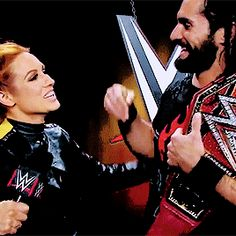 """WWE Superstars Seth Rollins (Colby Lopez) with his girlfriend """"The Man"""" Becky Lynch (Rebecca Quin) backstage at a WWE live event. Seth Rollins Girlfriend, Wwe Gifs, Female Wrestlers, Wwe Wrestlers, Becky Wwe, Wwe Live Events, Wwe Seth Rollins, Wwe Couples, Rebecca Quin"""
