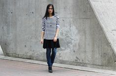 Women's White and Black Horizontal Striped Oversized Sweater, Black Skater Dress, Navy Ripped Skinny Jeans, Black Leather Ankle Boots Stylish Summer Outfits, Skater Dresses, Black Leather Ankle Boots, Outfit Combinations, Ripped Skinny Jeans, Looking For Women, Black Sweaters, Navy Blue, Classic