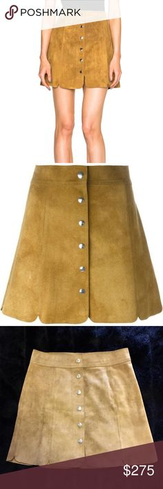 99e0c9c314 Isabel Marant Etoile Anna Suede Skirt Tan Authentic Suede Snap Closures  Down Front Scalloped Hem A Line Silhouette Length Waist Size Euro 36 Isabel  Marant ...