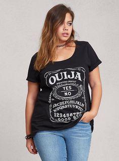 Plus Size Ouija Scoop Tee, BLACK
