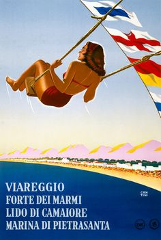 Vintage Tuscany Travel Poster. Viareggio, Forte dei Marmi, Lido di Camaiore, Marina di Pietrasanta. This poster from the Italian National Board of Tourism shows a woman on a swing over the Tyrrhenian Sea on the north Tuscany coast. Vintage Italian travel poster illustrated by Cantini, 1948.
