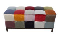 Banc garni en tissu, style patchwork. Mod. VENEZIA Banquettes, Ottoman, Chair, Furniture, Home Decor, Style, Scrappy Quilts, Color Combinations Outfits, Benches