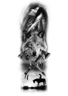 Native American Drawing, Native American Wolf, Native American Tattoos, Native Tattoos, Native American Pictures, Indian Tattoo Design, Wolf Tattoo Design, Tattoo Sleeve Designs, Sleeve Tattoos