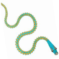 A Fine Victorian Turquoise Snake Necklace | From a unique collection of vintage more necklaces at http://www.1stdibs.com/jewelry/necklaces/more-necklaces/