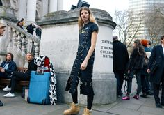 Veronika Heilbrunner in a Christopher Kane dress and Acne Studios boots #London  #StreetStyle  #Koshchenets