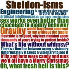 words of wisdom from the Great Sheldon Cooper