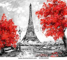 Oil Painting, Paris. european city landscape. France, Wallpaper, eiffel tower. Black, white and red, Modern art. trees.