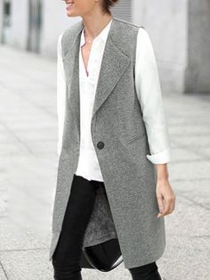 Buy Lapel Single Button Pockets Long Grey Vest from abaday.com, FREE shipping Worldwide - Fashion Clothing, Latest Street Fashion At Abaday.com