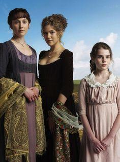 Hattie Morahan (Elinor Dashwood), Charity Wakefield (Marianne Dashwood) & Lucy Boynton (Margaret Dashwood) - The Dashwood sisters Sense and Sensibility (TV mini-series, 2008)