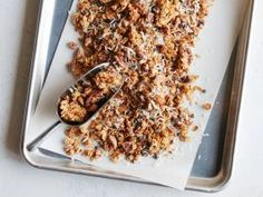 German Chocolate Granola : This recipe takes all the best parts from gooey chocolate cake and puts them into a granola you can eat for dessert. Try it straightup, or sprinkle it over ice cream or yogurt for dessert.