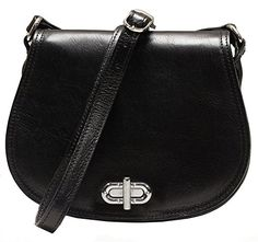 Floto Women's Saddle Bag in Black Italian Calfskin Leather - handbag shoulder bag