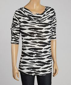 Look what I found on #zulily! Black & Gray Zebra Cutout Drape Top #zulilyfinds