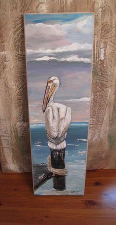 Original Art on Wood Pelican Ocean Dock by VintageChichibean, $150.00