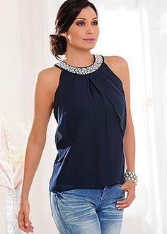 navy sleeveless blouse