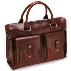 Handmade Genuine Leather Briefcase Laptop Messenger Bag - in Brown Hard Cowhide $138.00