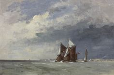 Edward Seago | Thames Barges Off Landguard Point