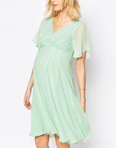 ASOS Maternity WEDDING Lace And Pleat Midi Dress