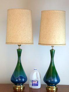 Mid Century Modern DANISH Table Lamps pair ceramic pottery LARGE Vintage Raymor