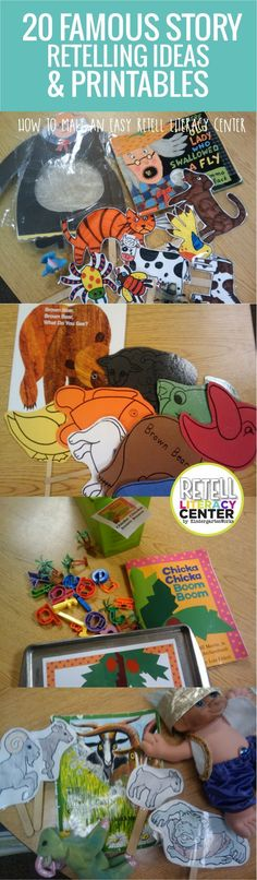 Retell Literacy Center Activity – Brown Bear, Brown Bear, What Do You See 20 famous story retelling ideas and printables for kindergarten – I love these Preschool Books, Book Activities, Preschool Activities, Retelling Activities, Preschool Library Center, Kindergarten Reading, Teaching Reading, Learning, Kindergarten Schedule