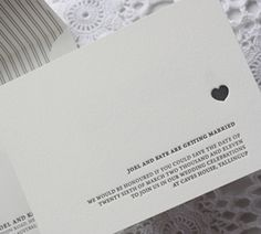 """Minimalist heart"" letterpress wedding invite by Bespoke Press. So simple and elegant. <3"