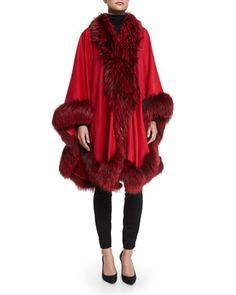 Cashmere Maxi Cape W/Fur Trim, Red by Gorski at Neiman Marcus.
