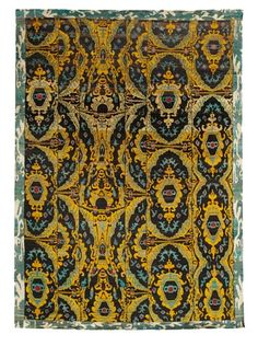37% OFF Silk Hand-Knotted Ikat Rug (Gold/Brown Multi)