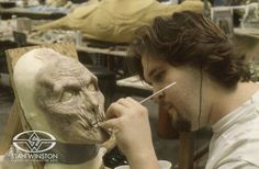 Character CreatorTrevor L. Hensley paints appliances for the Stan Winston directed, MICHAEL JACKSON'S GHOSTS.