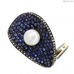 Sapphire Studded 14K Gold Diamond Pearl Ring 925 Sterling Silver Fashion Jewelry