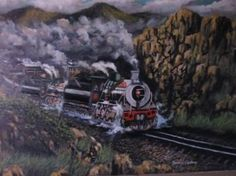 """Saatchi Art Artist FRANS BOTHA; Painting, """"19 DOLLY WITH TWO ENGINS FROM CAPETOWN TO PRETORIA"""" #art"""