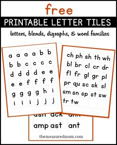 Free printable letter tiles for spelling practice!