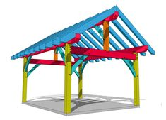 DIY timber frame construction plans for a porch, shed or pergola. Add roofing and siding to enclose the frame, or expose rafters for a pergola. Building A Shed, Boat Building, Shed Plans 12x16, Roof Extension, Wooden Pergola, Post And Beam, Covered Pergola, Shed Storage, Patio Roof