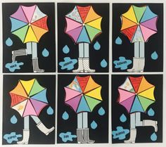 Spring Umbrella With Rain Boots Craft by Happily Ever Elementary