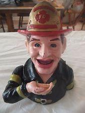 Vintage cast iron Fireman Mechanical Bank (money box) John Harper & Co 1915